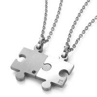 チタンペアネックレス pairs puzzle ブラック&ホワイトダイヤモンド