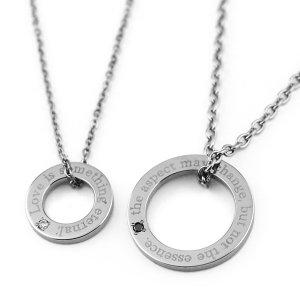 重なるチタンペアネックレス ブラック&ホワイトダイヤモンド