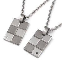 チタンペアネックレス Block×Block ブラック&ホワイトダイヤ