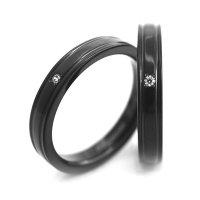 チタンペアリング 3.5mm幅 鏡面2本ライン 上面誕生石&内面刻印 IPブラック