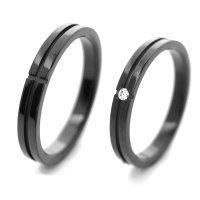 チタンペアリング 3.3mm幅 クロスライン IPブラック 石なし&0.03ct天然ダイヤモンド付きペア