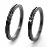 チタンペアリング 2.3mm幅 クロスライン IPブラック 石なし&0.01ct天然ダイヤモンド付きペア