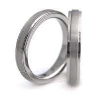 チタンペアリング 鏡面&ヘアライン帯 3.5mm幅 石なしペア