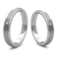チタンペアリング 鏡面&ヘアライン帯 3.5mm幅 天然ダイヤ付きペア