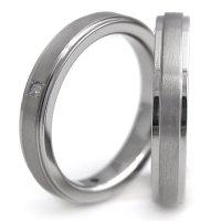 チタンペアリング 鏡面&ヘアライン帯 3.5mm幅 石なし&天然ダイヤ付きペア