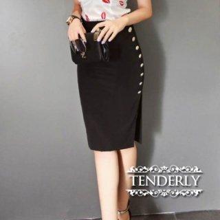 横顔美人なサイドスリット ボタン飾りハイウエストスカート