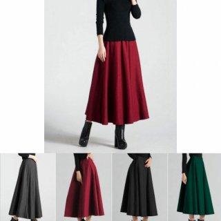 シックな4色カラー展開 Aラインロングスカート