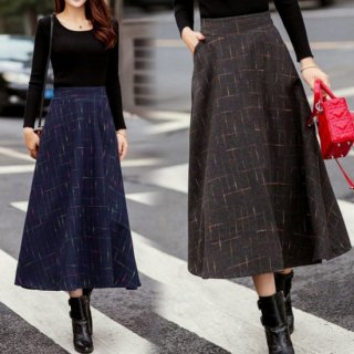 控えめなチェックが大人な印象 暖かロングスカート4色