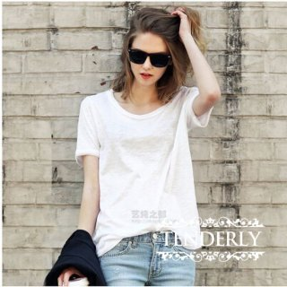 新作☆シンプルゆったり 薄手 半袖Tシャツ 白/黒/グレー