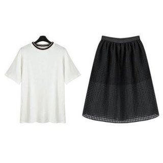半袖Tシャツ&シースルースカートのセットアップ 白黒