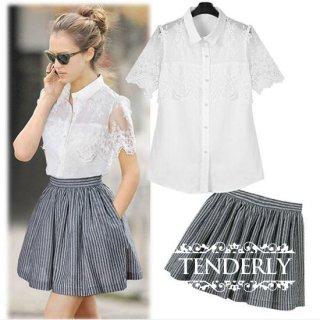 透け感が可愛い半袖ブラウス&ストライプフレアスカートのセットアップ 白グレー
