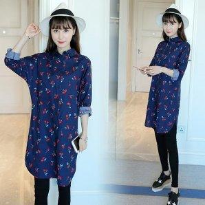 さくらんぼチェリープリントの長袖ゆるワイドロングシャツ /青 /M/L サイズ