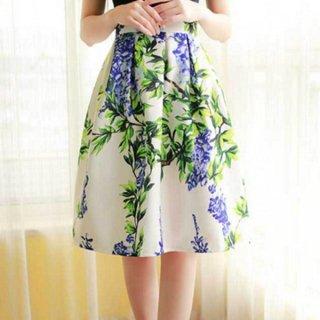 エレガントなボタニカルプリント♪花柄お上品フレアスカート