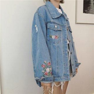 花柄刺繍のクラッシュブリーチデニムジャケット