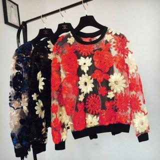 花柄刺繍のシースルー長袖トップス