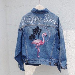 フラミンゴ刺繍ブリーチデニムジャケット Gジャン