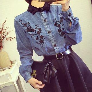 シックな花柄刺繍の長袖デニムシャツ