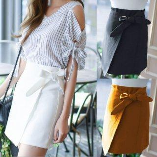 きれいめガーリー ウエストリボンの台形ミニスカート