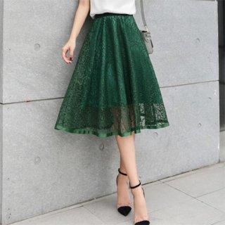 デートやオフィスにおすすめ ミモレ丈フレアレーススカート