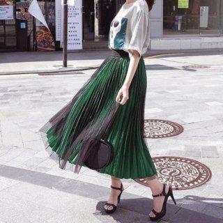 優雅に波打つシルエット 2枚仕立てのシースルーチュールプリーツスカート 2色