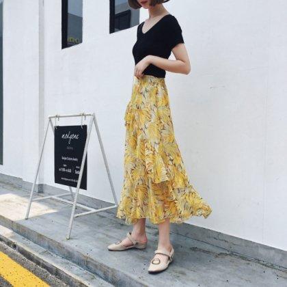 大人フェミニンが叶う アシンメトリー花柄デザインスカート