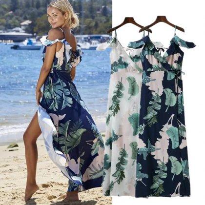 ビーチやリゾートスタイルにおすすめ  ボタニカルリーフ柄マキシワンピース 2色