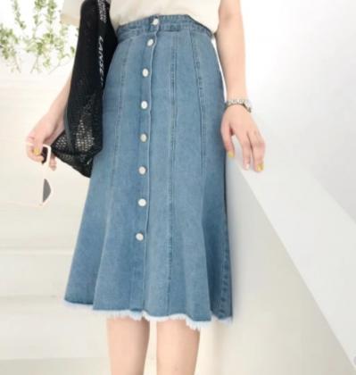 リメイク風デザイン マーメイドライン デニムスカート
