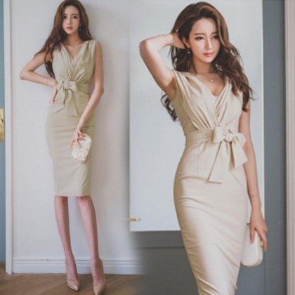 【即納】セクシーなカシュクールのラップドレス ワンピース ベージュ