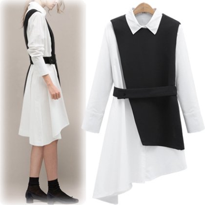 【即納】アシンメトリーデザインの襟付き白シャツ長袖ワンピース 黒