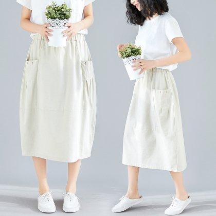 アースカラーのワントーンがおしゃれなポケット付きカジュアルスカート 2色