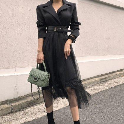 裾のチュールが個性的なトレンチ風長袖ワンピース アウター