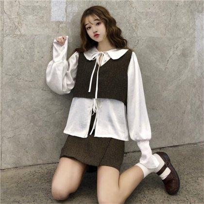 丸襟ブラウスのネックデザインがキュートなベスト付きスカートセットアップ 韓国 2色