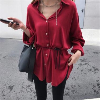 きれいめカジュアルがオトナかわいい前開きシャツの長袖トップス 2色