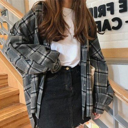 ビックシルエットがおしゃれなグレンチェックのゆったり長袖シャツ アウター 2色