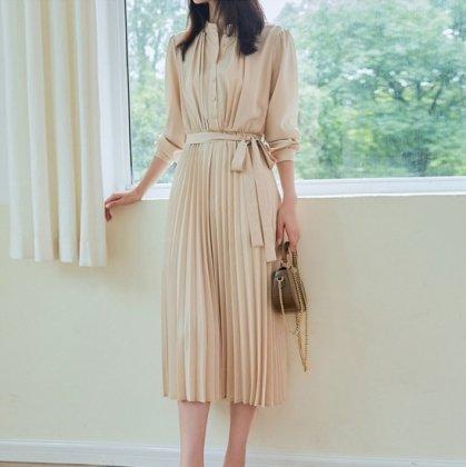 デイリーからフォーマルまで プリーツスカートがフェミニンなきれいめシャツワンピース 4色