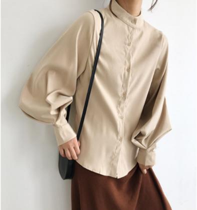 スタンドカラーがおしゃれ バルーンスリーブの長袖きれいめシャツトップス 3色