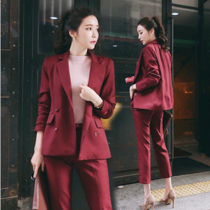 オフィスカジュアルやお呼ばれに エレガントなダブルボタンのパンツスーツ セットアップ 2色