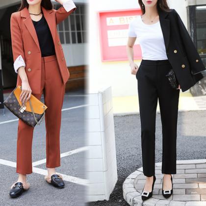 オフィスや通勤にも ストライプ柄カフスがおしゃれなジャケットとパンツのセットアップ スーツ 2色