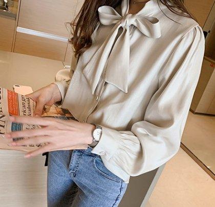 豊富な4色展開 ビックリボンが大人かわいい長袖きれいめシャツ ブラウス 4色