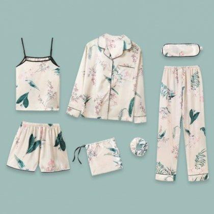 豪華7点セット サテン花柄セパレートパジャマとおしゃれルームウェアセット