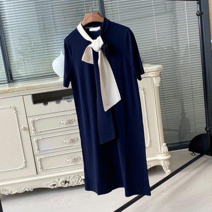 エレガントでおしゃれな海外デザイン サマーニットの半袖スカーフワンピース