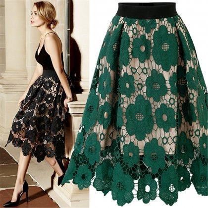 人気の海外デザイン 大人かわいい花柄刺繍レースのフレアスカート 2色