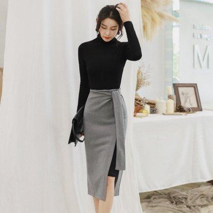 スタイリッシュな海外デザイン タートルネックの長袖トップスとタイトスカートのセットアップ
