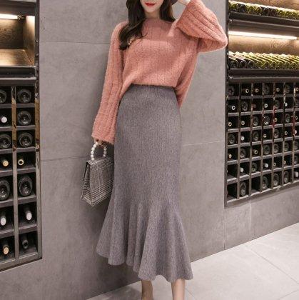 美シルエットなマーメードライン 大人かわいい裾フリルのロングワンピース 4色