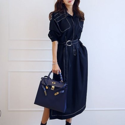 個性的でおしゃれな海外デザイン ビックポケットがかわいいロングワンピース 2色