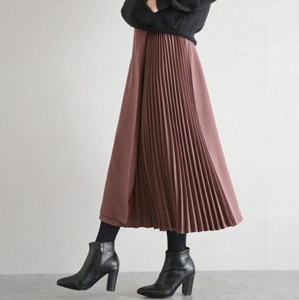 人気の海外デザイン 大人かわいいサイドプリーツのきれいめロングスカート 5色