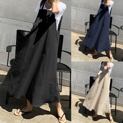 オトナ女子のオフスタイルに ゆったりシルエットのロングスカートサロペット 3色