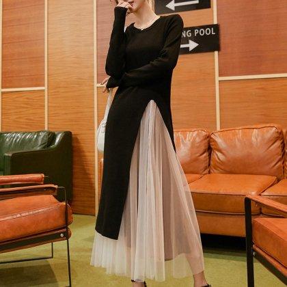 甘めシフォンのふんわりスカートとロングスリットの長袖ワンピースのセットアップ
