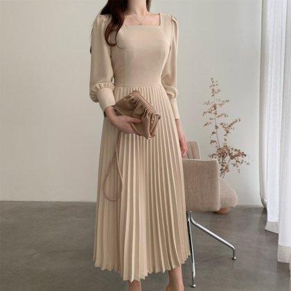 デイリーからお呼ばれまで 大人かわいいプリーツスカートのきれいめロングワンピース 2色
