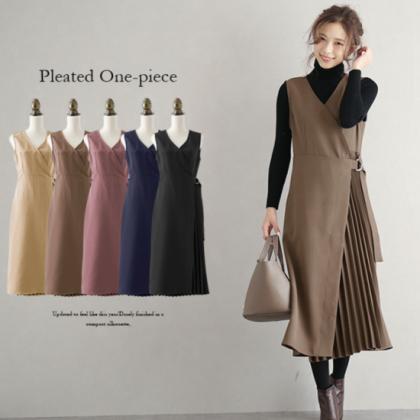人気の海外デザイン 上品かわいいアシメプリーツのロングワンピース 5色